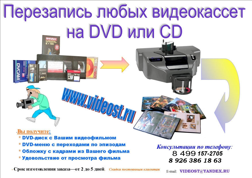 Оцифровка видеоматериала, тиражирование, видеосъёмка, видеомонтаж